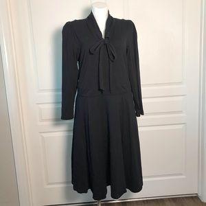 ESHAKTI BLACK NECK TIE LONG SLEEVE DRESS